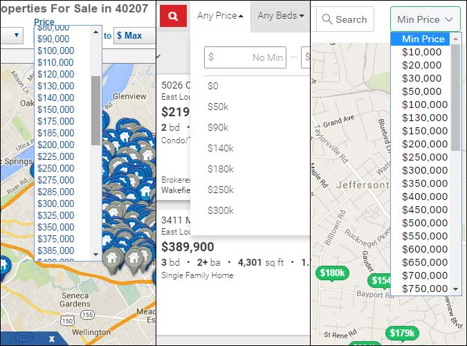 Screen shots of sample real estate websites and their price search tiers