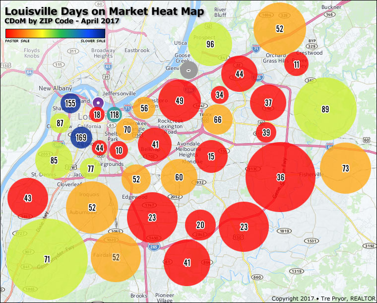 Map of Louisville Days on Market Heat Map CDoM by ZIP Code - April 2017