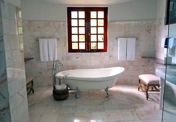 Photo of a bathroom with lots of marble