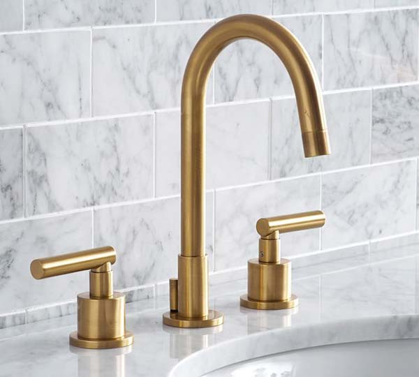 Photo of a matte brass faucet