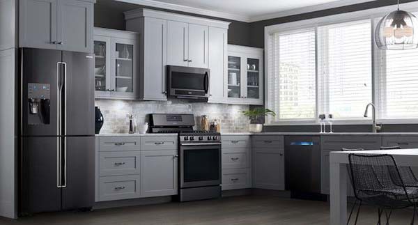 Photo of Samsung black stainless steel kitchen appliances