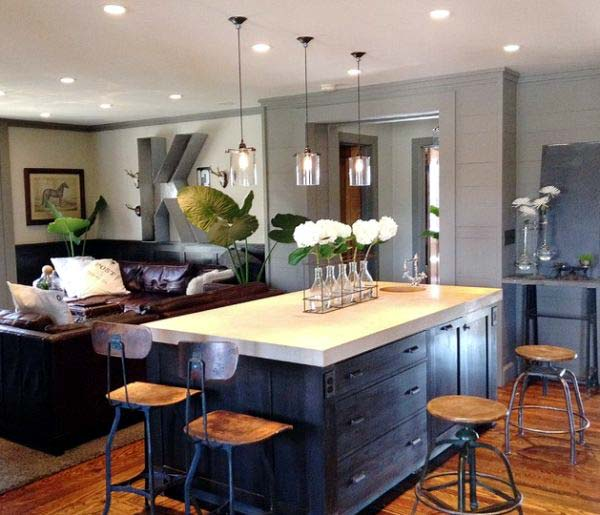 Photo of a open concept space with pendant lights