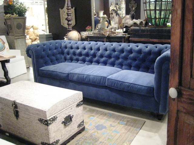 Photo of a velvet sofa