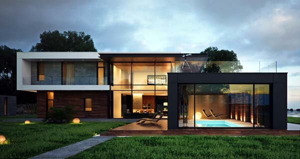 Photo of a modern house design with bold geometric shapes
