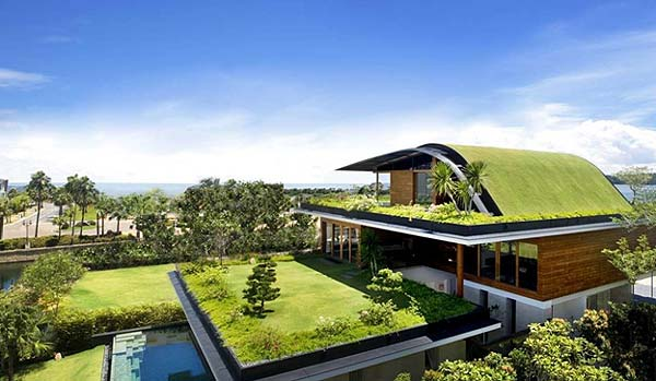 Photo of a modern house design with a rooftop garden