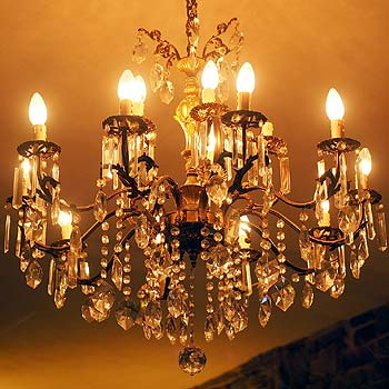 Photo of a classic crystal dining room chandelier
