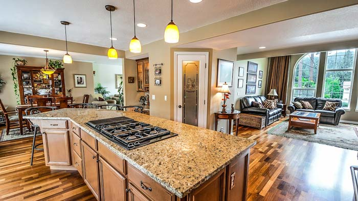 Photo of a kitchen with three pendant light fixtures over the island